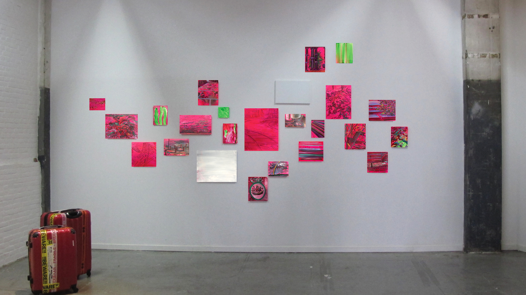 installation view @Loods6, KNSM district of Amsterdam 2018     mixed media on linen    10x5 meters